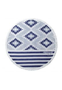 Round, blue print beach towel - MONTAUK CHIC