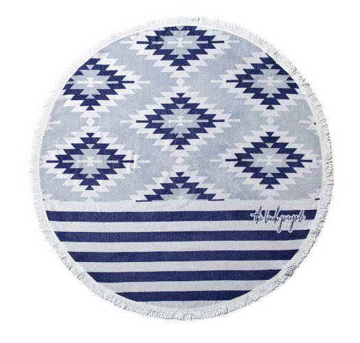 Serviette de plage ronde mix d&#39imprimés bleus - MONTAUK CHIC