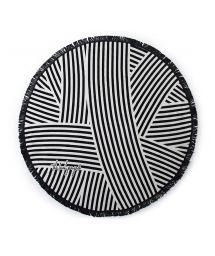 Black and white striped round beach towel - PALOMA CHIC