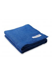 Luxury dark blue linen beach towel - TOWEL BLOCK BLUE