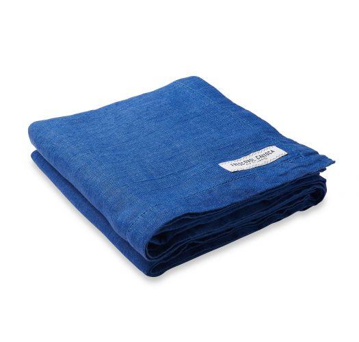 Luxury dark blue linen beach towel - TOWEL BLOCK BLUE