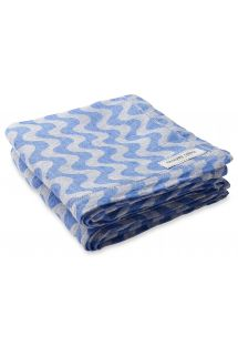 Large linen towel in blue wave print - TOWEL COPACABANA BLUE