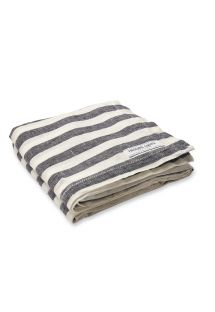Luxury striped 100% linen beach towel - TOWEL STRIPE MIDNIGHT BLUE