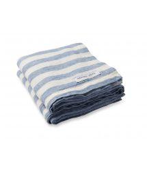 Luxury striped beach towel in 100% linen - TOWEL STRIPE SLATE BLUE