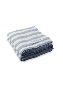 Blåstribet luksuriøst strandhåndklæde i 100% linned - TOWEL STRIPE SLATE BLUE