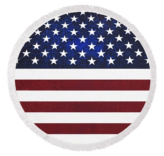 Fringed round beach towel with USA flag - AMERICAN DREAMER
