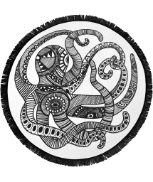 Round beach towel with octopus pattern - BOHO OCTO