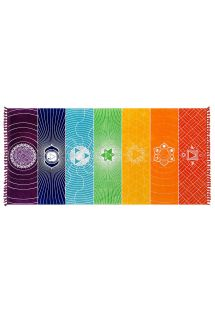 Multicoloured beach towel with chakra motif - CHAKRA