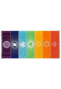 Multicoloured beach towel with chakra motif - CHAKRA