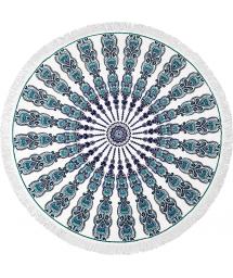 Bohemian round beach towel with a green pattern - GYPSY BRANCO