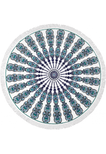 Bohemian round beach towel with a green pattern - GYPSY BRANCO