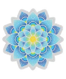 Blue lotus-shaped fringed beach towel - LOTUS LOVE BLUE