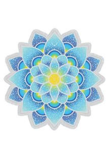 Blue lotus-shaped fringed beach towel - LOTUS LOVE BLUE