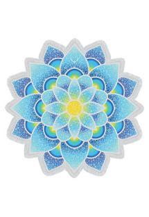 青いロータスの形をしたフリンジのビーチタオル - LOTUS LOVE BLUE