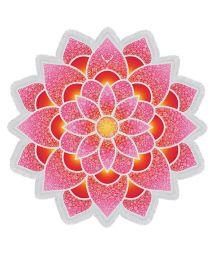 Pink lotus-shaped fringed beach towel - LOTUS LOVE PINK