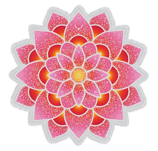 Pink lotus-shaped fringed beach towel - LOTUS LOVE PINK