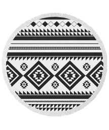 Black and white ethnic round beach towel - ORCA