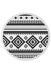 Toalla de playa redonda estampado étnico blanco y negro - ORCA