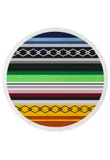 Round beach towel with multi-coloured stripes - SPIRIT COLOR