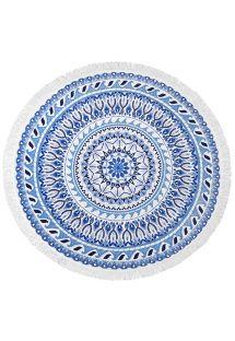 Rond stranlaken in blauw/wit mozaïek - VAGABOND