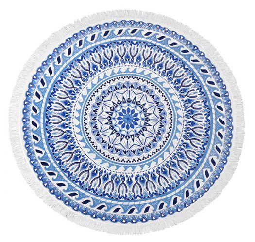 Rundt strandhåndklæde med blåt mosaikmønster - VAGABOND