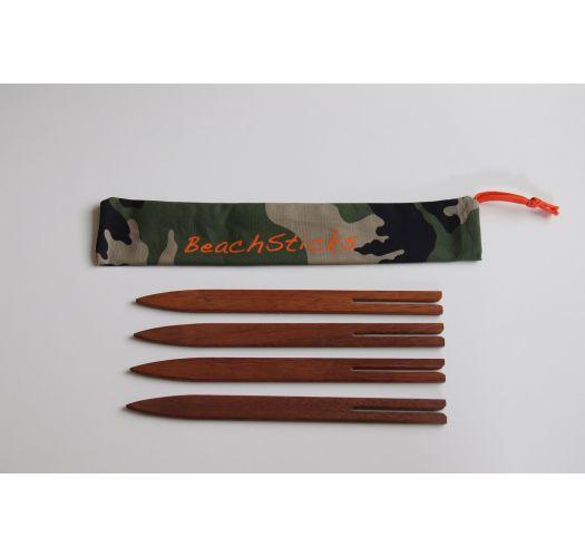 Set van 4 houten pareobevestigingen-camouflage hoes - BEACH STICKS CAMO