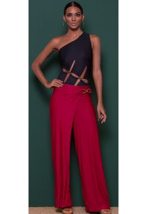 Luxurious black draped beach pants with side detail - CALCA BOGOTA