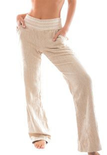 Textured light beige beach trousers with a contrasting waist band - PANT NATUREZA BEGE
