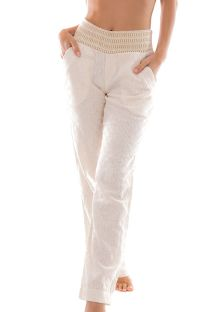 Textured light ecru beach trousers with a contrasting waist band - PANT NATUREZA BRANCO