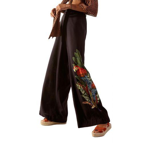Black loose beach pants in tropical print - BOTTOM SAVANA GUINE