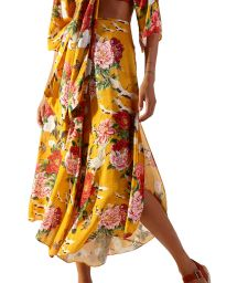 Yellow beach pants in floral pattern - CALCA XANGAI