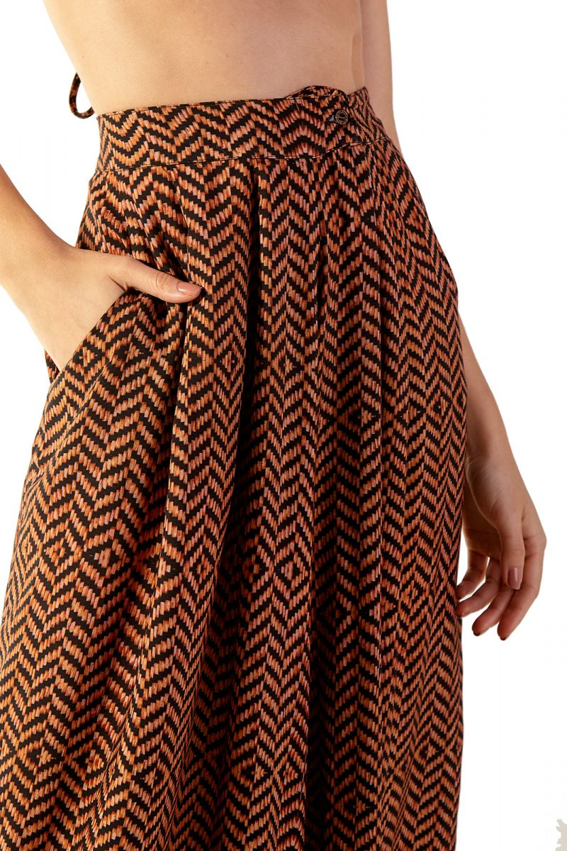 Wide ethnic brown beach pants - CATRINE GUINE
