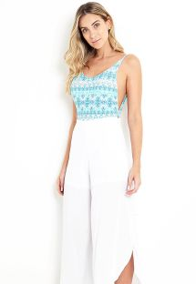 Asymmetric white beach pants - SERENATA
