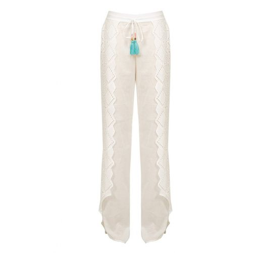 White beach trousers with lace insets - ELEGANCIA PANTS