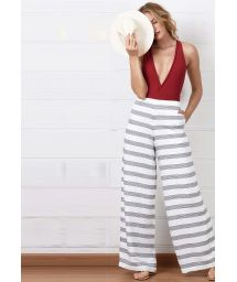 Wide striped white beach pants - CALÇA LISTRAS SUNSET HARBOUR