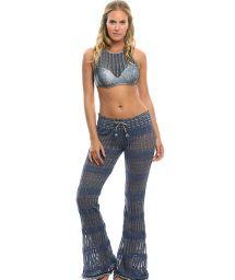 Openwork flared beach pants in a blue denim fabric - FLARE PANTS