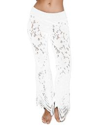 White beach pants with openwork flower pattern - FLORENCE PANTS WHITE