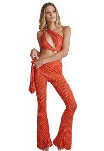 Orange strandbukser med svaj og prikker - PANTALON BELL