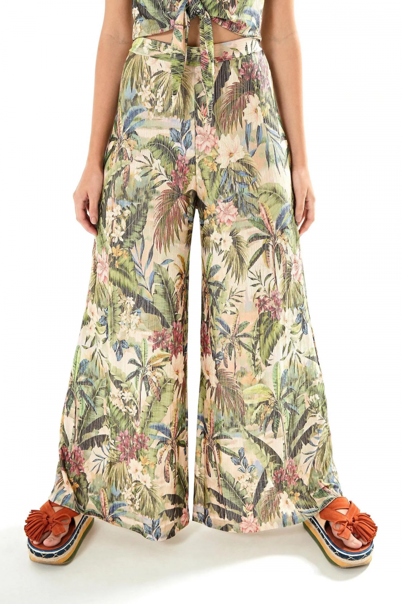Loose beach trousers with tropical print - CALÇA PANTALONA RECANTO