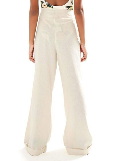 Ecru flare pants with pleats - PANTALONA BASICA