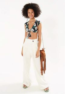Ecru flare pants with pleats - PANTALONA BASICA