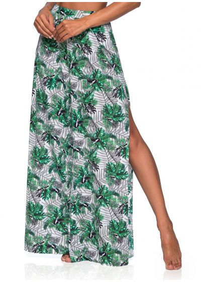 Slit beach trousers in leaves print - BOTTOM CROPPED CRUZADO VIUVINHA