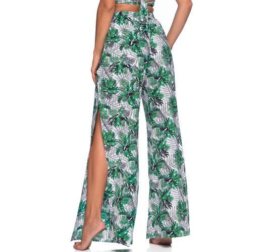 Splittet bukse i bladmønstret grønn - BOTTOM CROPPED CRUZADO VIUVINHA