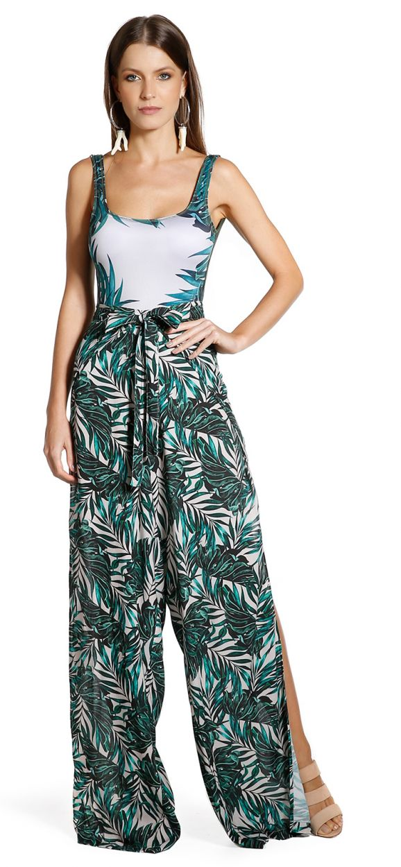 Beach pants with printed foliage - ENVELOPE FOLHAGENS