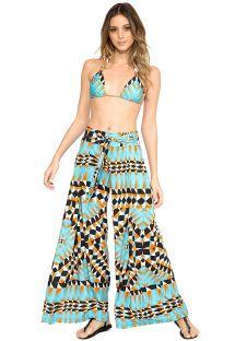 Pantalón de playa ancho con estampado geométrico - CALÇA LAÇO ORIGAMI
