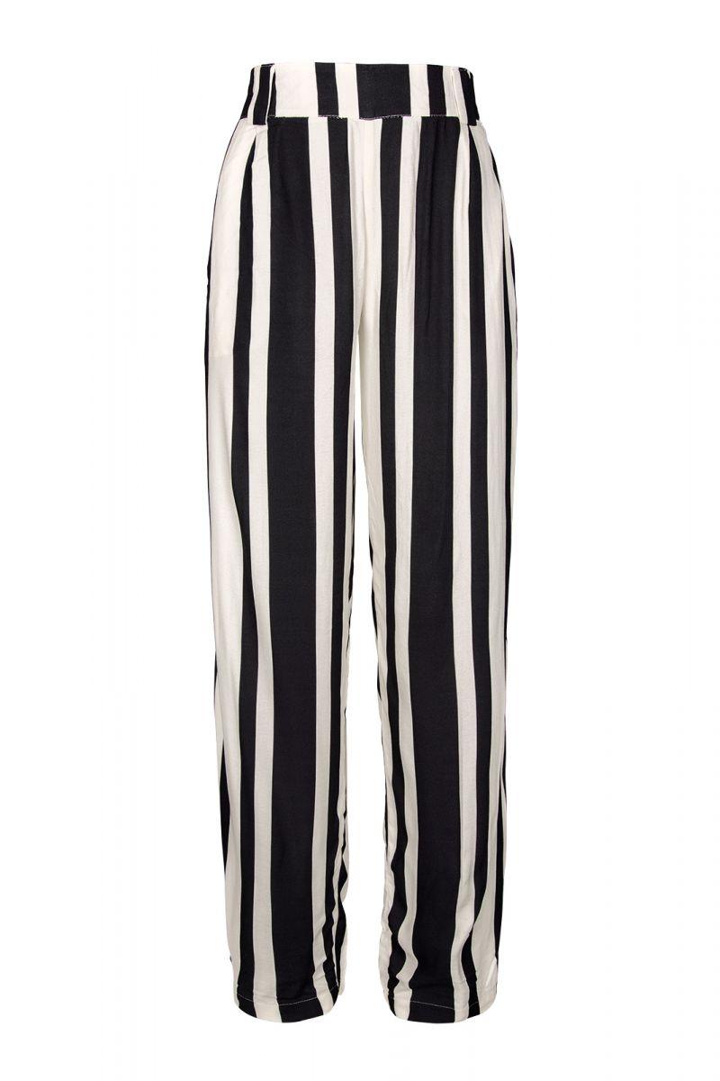 Black and white striped beach trousers - ALFAIATARIA