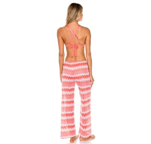 Coral pink geometric beach pants - PANT CORAL AMOR Y MIEL