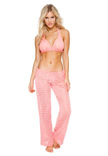 Coral pink crochet beach pants - PANT PARADISE CORAL