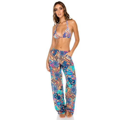 Εμπριμέ παντελόνι με σκίσιμο στο πλάι, ιδανικό για την παραλία - PANT WAPISIMA