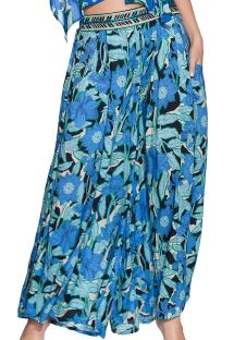 Flowing floral blue pants with embroidered belt - ELEPHANT SEAL